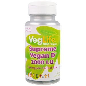 VegLife, Supreme Vegan Vitamine D, 2000 I.U., 100 Tabletten Bigbizz.nl Biotheek.com
