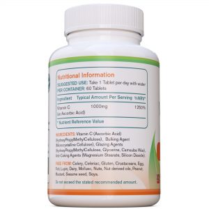 Vitamine C 1000mg 60 tabletten AtoZ Pure Health Biotheek.com Etiket