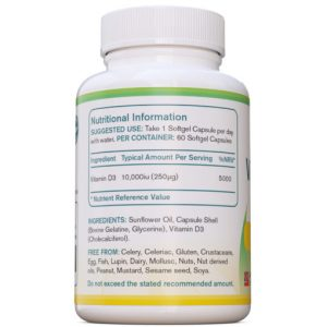Vitamine D3 10.000iu, 60 softgels | AtoZ Pure Health Biotheek.com