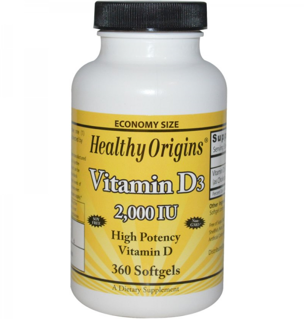 Vitamine D-3, 2000 IE, 360 softgels, Healthy Origins Biotheek.com Bigbizz.nl