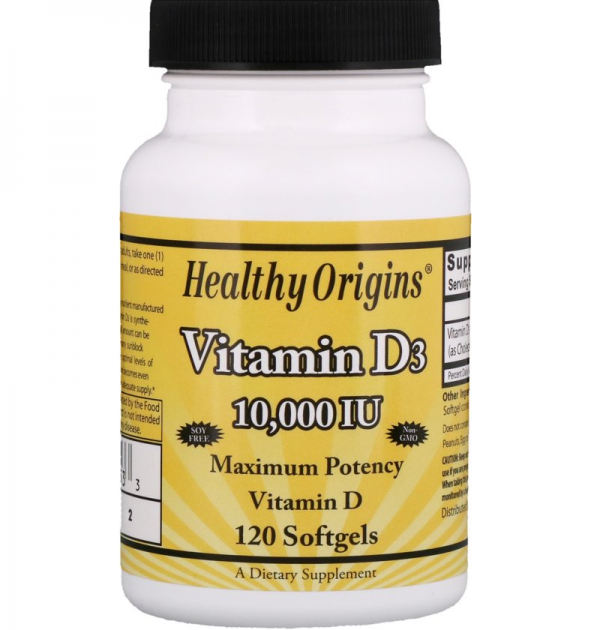 Vitamine D3, 10.000 IU (120 softgels) – Healthy Origins Biotheek.com Bigbizz.nl