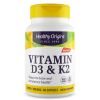 Vitamine D3 & K2, 2000IU/200mcg, 60 Softgels - Healthy Origins Biotheek.com