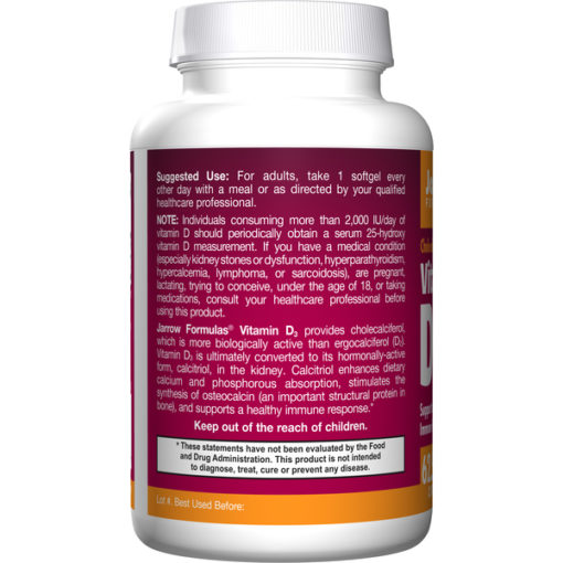 Vitamine D-3, 2500iu x 100 softgels | Jarrow Formulas Biotheek.com