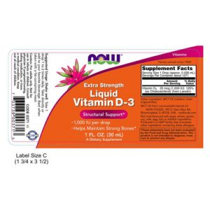 NOW355 Vitamin D-3, liquid, Extra Strength, 1000iu, 1fl oz (30ml) Biotheek.com Now Foods